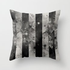 Stripes In Space - Black and white panel effect space scene Throw Pillow