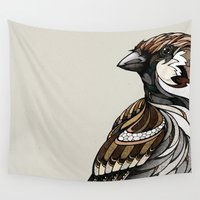 sparrow Wall Tapestries featuring Berlin Sparrow by Andreas Preis