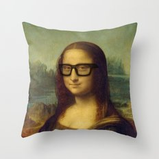 Hipster Mona Lisa in her Hipster Glasses Throw Pillow