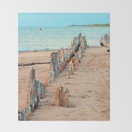 Wharf Remains on the Beach Throw Blanket