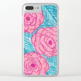 Tropical Palm Leaves and Roses Print Clear iPhone Case