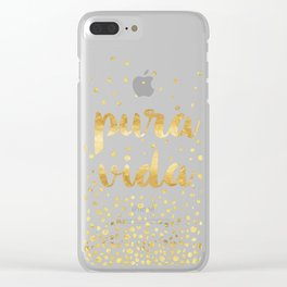 Pura Vida Gold Champagne Bubble Design Clear iPhone Case