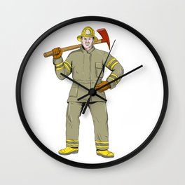 American Firefighter Fire Axe Drawing Wall Clock