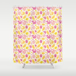 Cute Pink and Yellow Floral Pattern with Australian Native Bottlebrush Flowers Shower Curtain