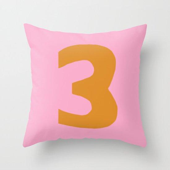 Number 3 Throw Pillow