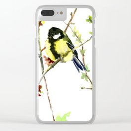 Spring nature colors,Bird art, great Tit, yellow spring bird Clear iPhone Case