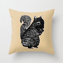 Black Squirrel Printmaking Art Throw Pillow