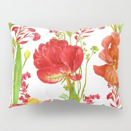 Red Tulips and Iris Vibrant Floral Pattern Pillow Sham