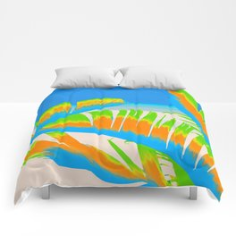 Tropical Colored Banana Leaves Design Comforters