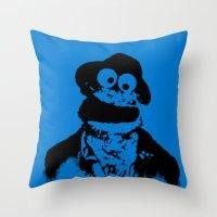 tom waits Throw Pillows featuring Cookie Waits by Thorn Blackstar