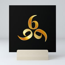 666- the number of the beast or angel symbol or devils number in gold Mini Art Print