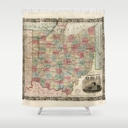 Colton's township map of the State of Ohio (1851) Shower Curtain