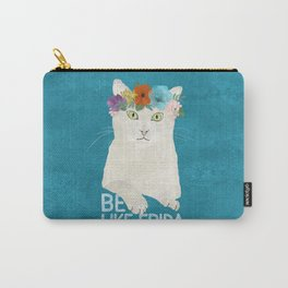 Be like Frida! White cat in flower crown on sky blue Carry-All Pouch