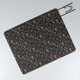 flat lay floral pattern on a dark background Picnic Blanket