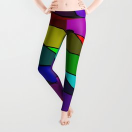 Slanting rainbow lines and rhombuses on red with intersection of glare. Leggings
