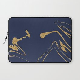 Blue And Gold Liquid Paint Laptop Sleeve