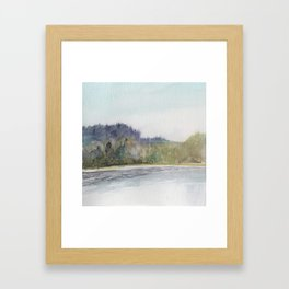 Pacific Northwest Columbia River Watercolor Framed Art Print