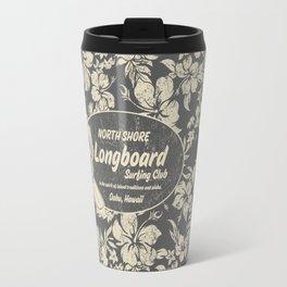 Club Surfing Longboard Logo and Hibiscus Hawaiian Print  Travel Mug