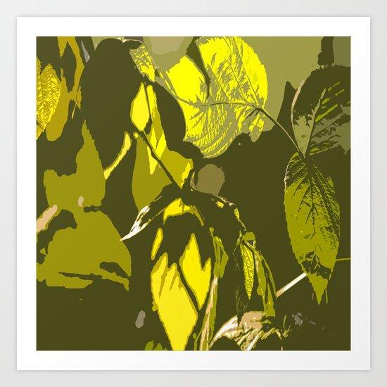 Autumn leaves bathing in sunlight Art Print