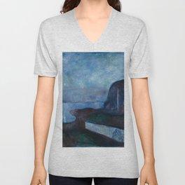 Edvard Munch - Starry Night Unisex V-Neck