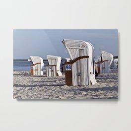 White Beach Chairs on the Isle of Ruegen Metal Print