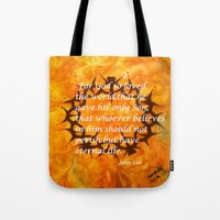 religious Tote Bags featuring John 3:16 Religious Abstract Art by Saribelle Rodriguez  by Saribelle Inspirational Art