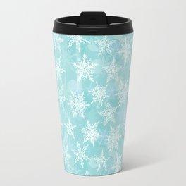 blue winter background with white snowflakes Travel Mug
