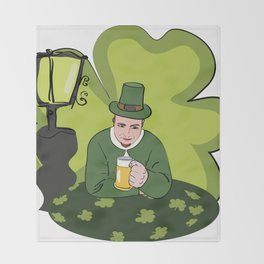 St Patricks Day Man with Beer Throw Blanket