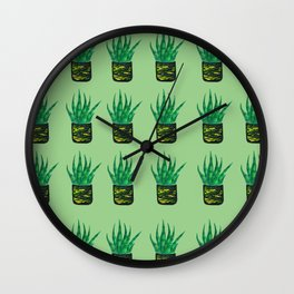 Snake plant pattern - Pastel Green Wall Clock