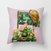 hats Throw Pillows featuring Hats Off by Mary Timman