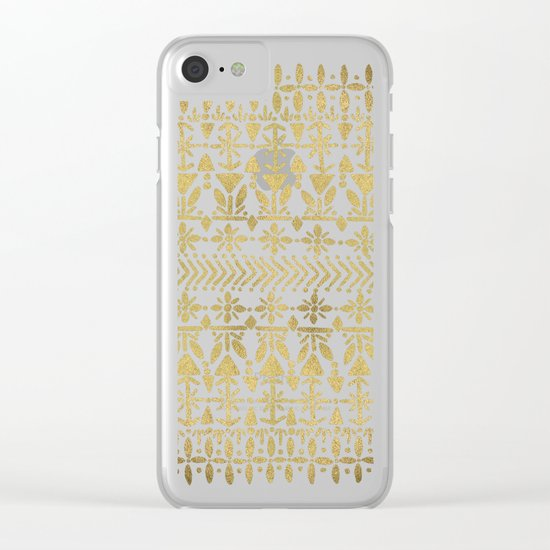 Norwegian Pattern – Gold on White Clear iPhone Case