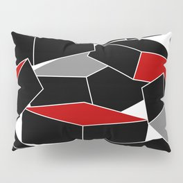 Falling - Abstract - Black, Gray, Red, White Pillow Sham