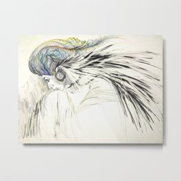 Lady with a Feather Turban Metal Print