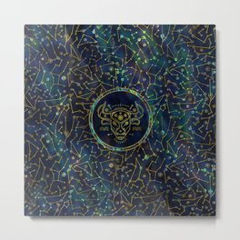 Taurus Zodiac Gold Abalone on Constellation Metal Print