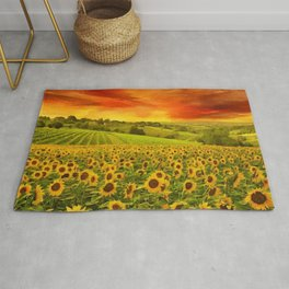 Tuscany Sunflower Fields and Vineyards Red Sunset Landscape Rug
