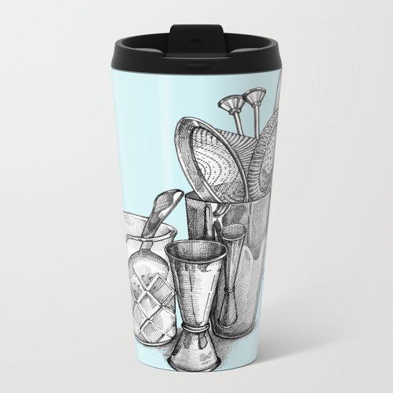 Bartender in turquoise Metal Travel Mug