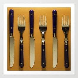 blue forks and knives on orange background Art Print