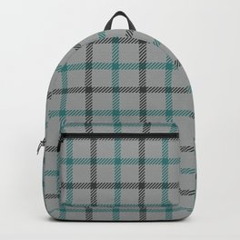 Teal and grey abstract geometric - Tartan plaid Backpack