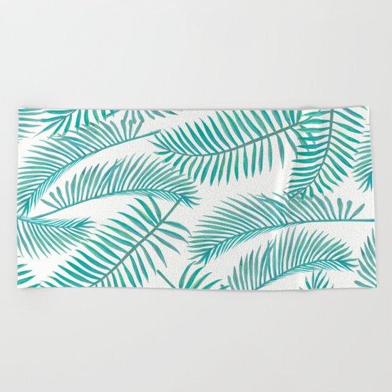 Palm Leaf Pattern Island Paradise Beach Towel