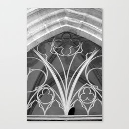 Window of St. Mary's Church Torgau, black and white photo Canvas Print