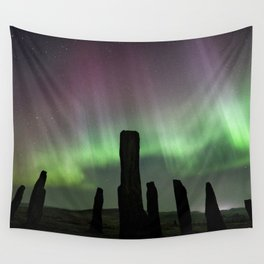 Callanish and aurora Wall Tapestry