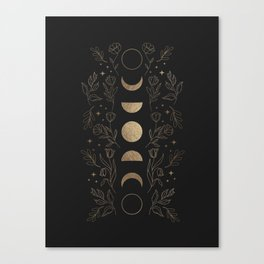 Gold Moon Phases Canvas Print