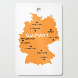 Germany Map Berlin Dusseldorf Frankfurt Munich Cutting Board