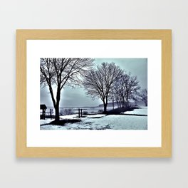 Winter Trees by the Lake Framed Art Print