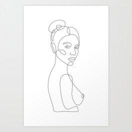 Lady In Bun Art Print