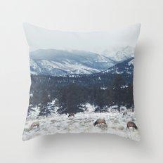 Elk herd in the Rockies Throw Pillow
