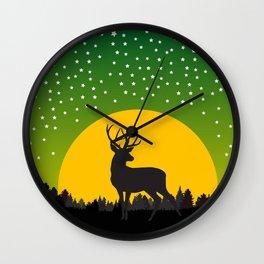 Deer Stars Moon Wall Clock