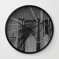 brooklyn bridge Wall Clocks featuring Brooklyn Bridge by Brooke T Ryan Photography