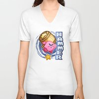 kirby V-neck T-shirts featuring Kirby Hammer by likelikes