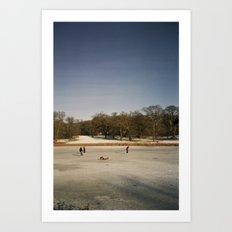 Ice Skaters, Blickling Lake, Norfolk Art Print